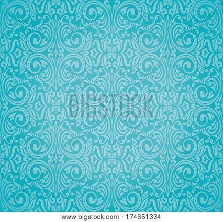 Turquoise  floral holiday vintage decorative background design