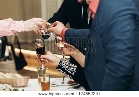 Corporate Business Man Toasting At Dinner Party Table Hands Close-up, Wedding Reception Guests Toast