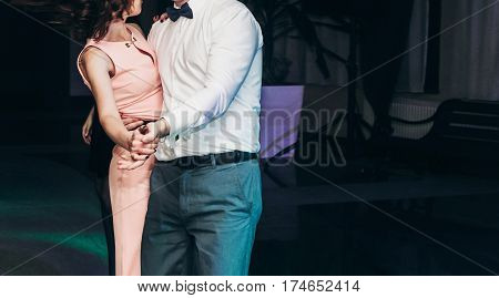 Happy, Stylish Couple Dancing At Business Dinner Nightclub Dance Party, Disco Lights Party In Restau