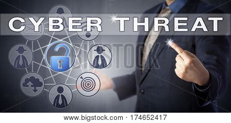 Male enterprise consultant in blue business suit is identifying a CYBER THREAT scenario. Information technology concept and computer security metaphor. Unlocked virtual padlock signifying the breach.