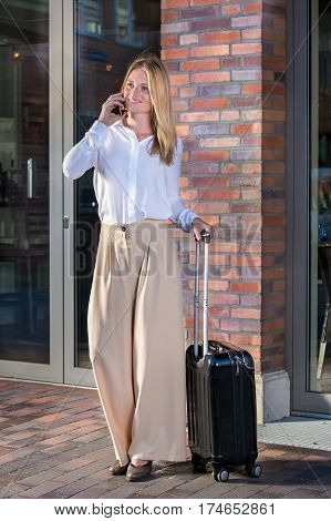 Pretty Woman With Black Suitcase