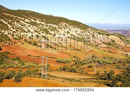 Dades Valley   Electrical Line  Morocco