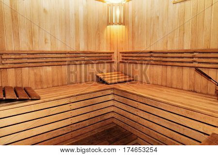 Wooden Russian Bathhouse Sauna Benches In Hospital Recreational Room, Relaxing Leisure In Bath-house
