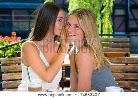 Woman Whispering A Secret To Her Friend