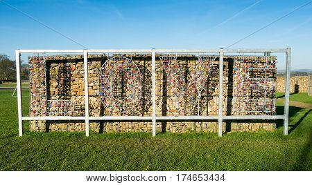 Wall of love with lockers at Gretna Green