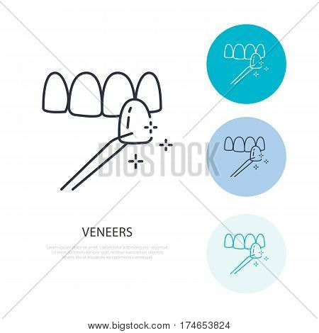 Veneers line icon. Dental care equipment sign, medical elements. Health care thin linear symbol for dentistry clinic.