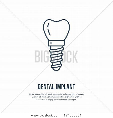 Dentist, orthodontics line icon. Dental implant, tooth orthodontics sign, medical elements. Health care thin linear symbol for dentistry clinic.