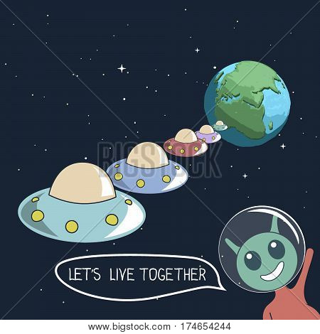 Happy cute alien offers us live together.Group of UFO flying to Earth.Cartoon childish vector illustration