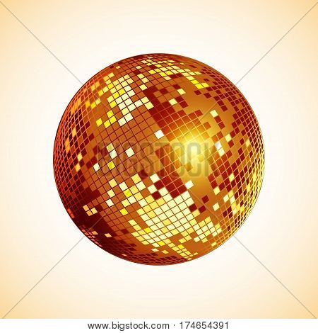 Disco ball icon. Golden disco mirror ball isolated. Design element for party flyer poster or brochures. Vector illustration.