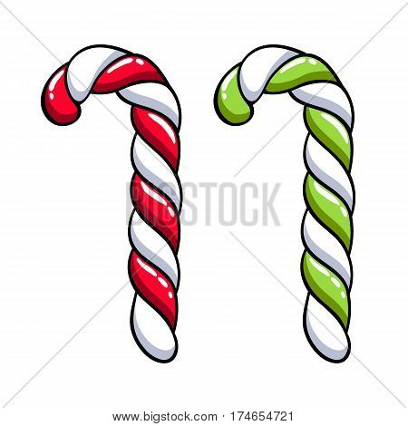 Candy cane with red, green and white stripes. Christmas sweet treat. Hand drawn doodle sketch.