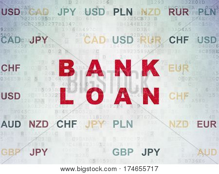 Currency concept: Painted red text Bank Loan on Digital Data Paper background with Currency