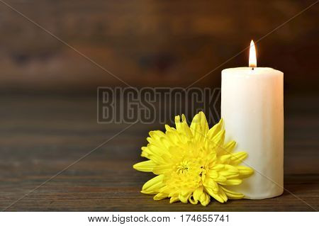 White candle and flower on wooden background