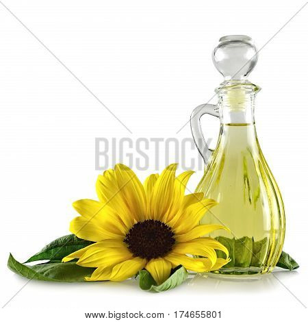 Sunflower oil in decanter isolated on white background