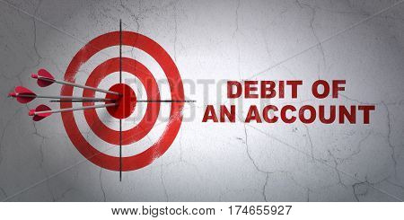 Success money concept: arrows hitting the center of target, Red Debit of An account on wall background, 3D rendering