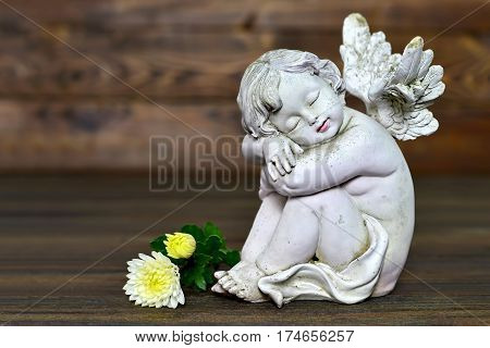 Angel figurine and flowers on wooden background