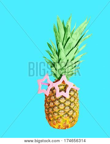 Pineapple With Pink Sunglasses On Blue Background, Colorful Ananas
