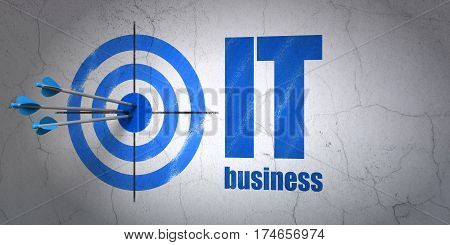 Success business concept: arrows hitting the center of target, Blue IT Business on wall background, 3D rendering