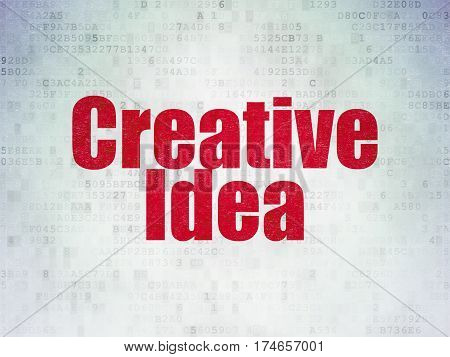 Finance concept: Painted red word Creative Idea on Digital Data Paper background