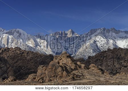Mount Whitney Winter - The morning light shines on Mount Whitney in the winter.