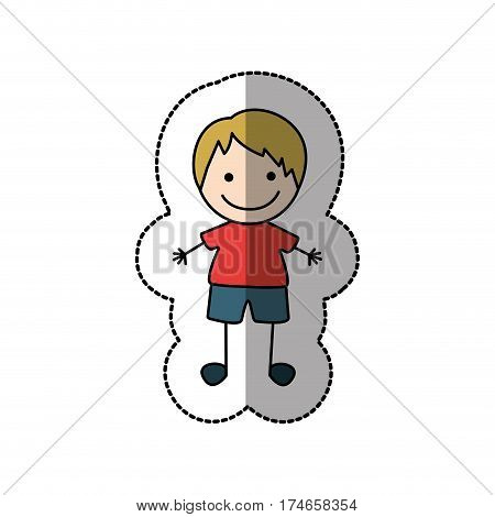 boy happy with blonde hair icon, vector illustraction design image
