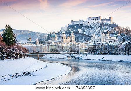 Beautiful View Of Salzburg Skyline With Festung Hohensalzburg And River Salzach In Winter, Salzburge