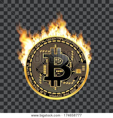 Crypto currency golden coin with black lackered bitcoin symbol on obverse surrounded by realistic flame and isolated on transparent background. Vector illustration.