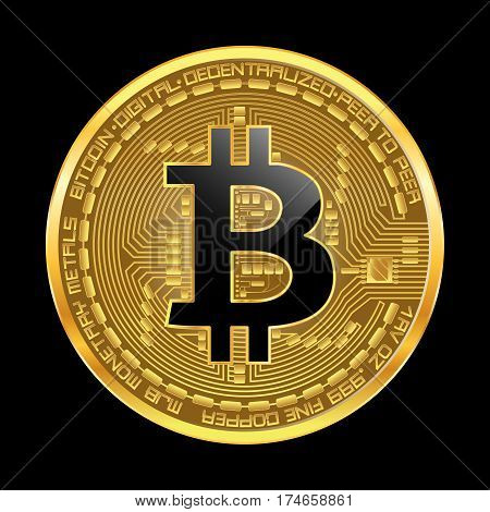 Crypto currency golden coin with black lackered bitcoin symbol on obverse isolated on black background. Vector illustration. Use for logos print products page and web decor or other design.