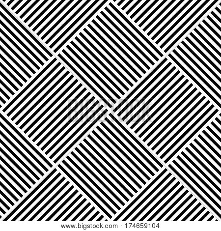 Vector abstract geometric seamless pattern. Weaving textile fabric with black and white crossed straight lines. Checked background texture in diagonal arrangement.