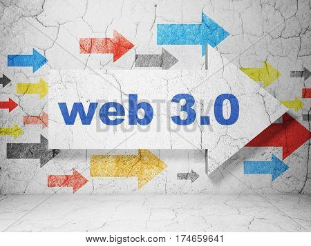 Web design concept:  arrow with Web 3.0 on grunge textured concrete wall background, 3D rendering