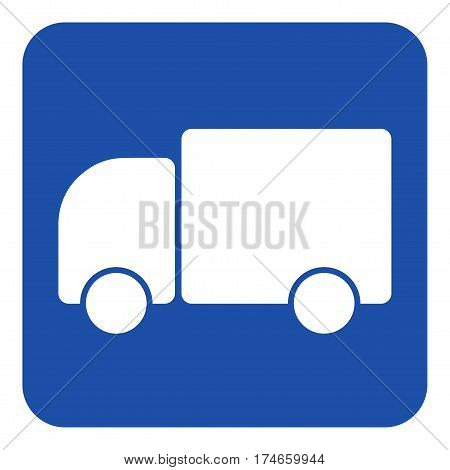 blue rounded square information road sign with white lorry car icon