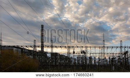 high-voltage power lines. electricity distribution station . high voltage electric transmission tower.