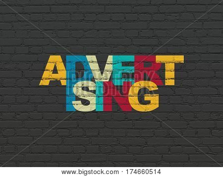 Advertising concept: Painted multicolor text Advertising on Black Brick wall background