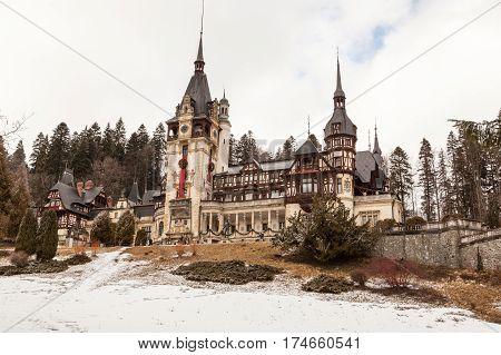 Beautiful View Of Peles Castle In Sinaia, Romania