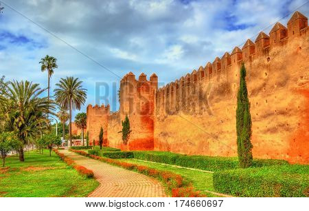 Almohad city wall of Rabat, the capital of Morocco
