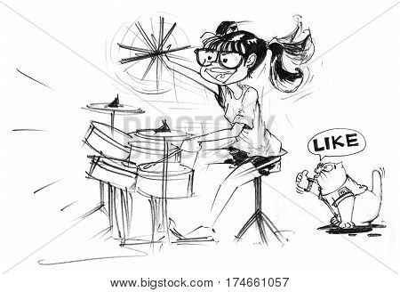 Cartoon character design girl acting to playing drum set and swinging bat feeling very funny behind has fat cat sitting and show finger symbol is great and say like Pencil sketch hand drawing black and white.