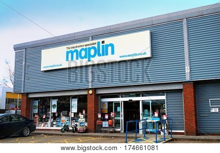 Basingstoke, Uk - February 24 2017 - Entrance To The Maplin Electronics Store