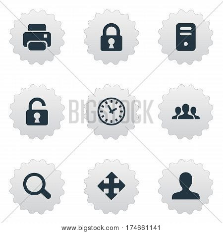 Set Of 9 Simple Apps Icons. Can Be Found Such Elements As Computer Case, Printout, Watch And Other.
