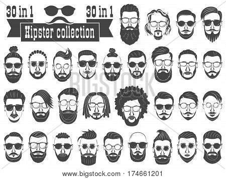 Superset of 30 hipsters bearded men with different hairstyles mustaches beards isolated on white background.