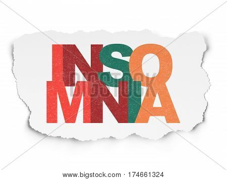 Medicine concept: Painted multicolor text Insomnia on Torn Paper background