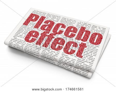 Healthcare concept: Pixelated red text Placebo Effect on Newspaper background, 3D rendering