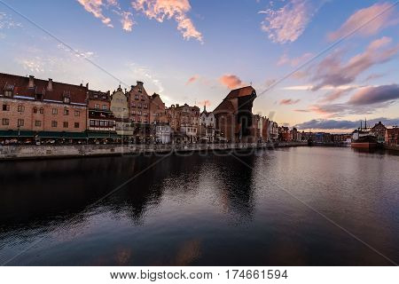 Panorame of Gdansk cityscape in sunset time in Poland Europe.