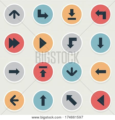 Set Of 16 Simple Pointer Icons. Can Be Found Such Elements As Pointer, Advanced, Pointer And Other.