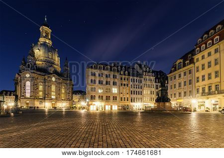 Frauenkirche church in Dresden square in Germany. Europe.