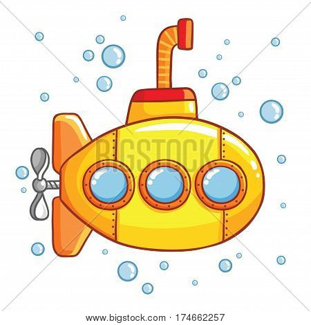 Submarine with air bubbles Yellow submarine with periscope and air bubbles around.