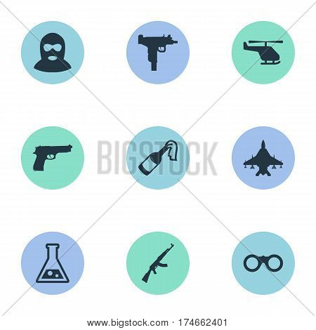 Set Of 9 Simple Military Icons. Can Be Found Such Elements As Kalashnikov, Helicopter, Chemistry And Other.