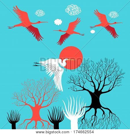 Vector illustration with herons and ibises fly over trees