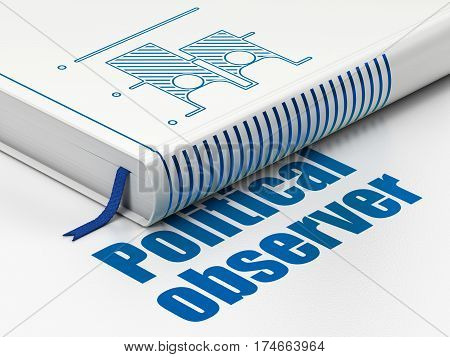 Political concept: closed book with Blue Election icon and text Political Observer on floor, white background, 3D rendering