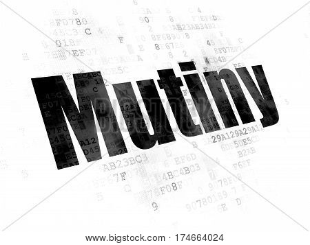 Political concept: Pixelated black text Mutiny on Digital background