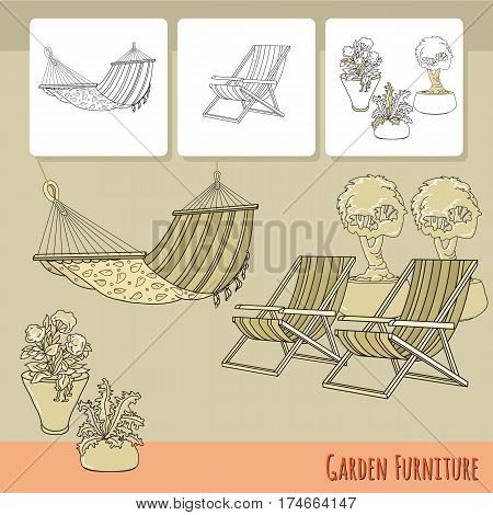 Vector illustration of hand drawn lounge chairs, hammock and flowers in pot. Garden accessory on beige  background. Landscape design. Summer backyard with outdoor furniture. Rest area.