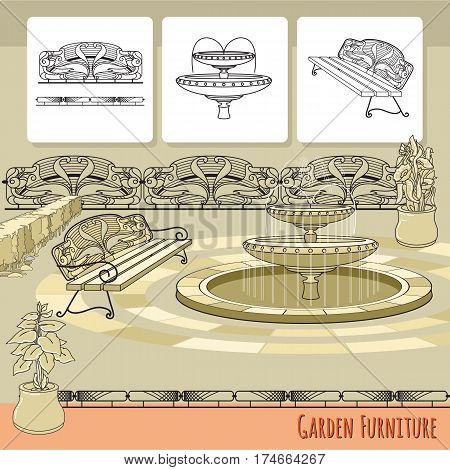 Vector illustration of hand drawn bench, railings, fountain and flowers in pot. Garden accessory on beige  background. Landscape design. Summer backyard with outdoor furniture. Rest area.
